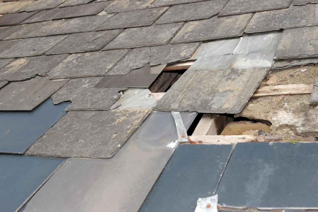 This is a picture of a storm damaged roofs.